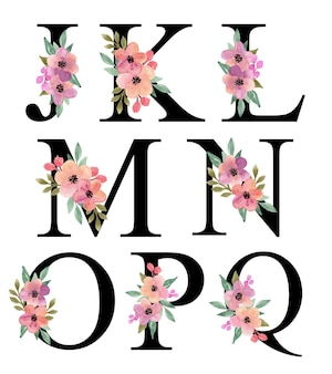 Litera alfabetu j - q projekt z fioletową brzoskwinią akwarela kwiatowy bukiet dekoracji kolekcji wektorowej