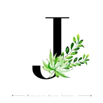 Litera alfabetu j z kaktusa akwarela
