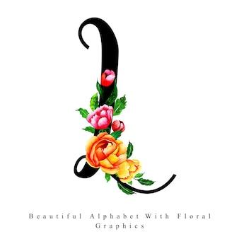 Litera alfabetu l akwarela kwiatowy tło