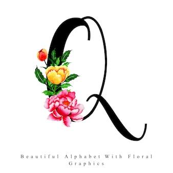 Litera alfabetu q akwarela tle kwiatów