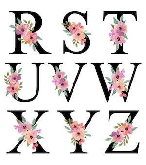 Litera alfabetu r-z projekt z fioletową brzoskwinią akwarela kwiatowy bukiet dekoracji kolekcji wektorowej