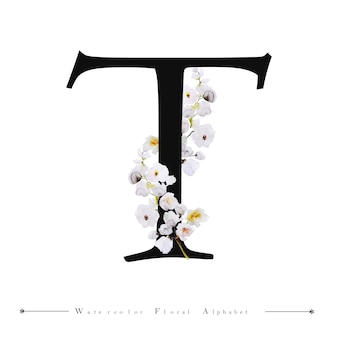 Litera alfabetu t akwarela kwiatowy tło
