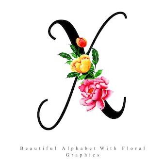 Litera alfabetu x akwarela kwiatowy tło