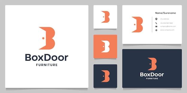 Litera b drzwi wnętrze abstrakcyjna negatywna przestrzeń prosty nowoczesny projekt logo