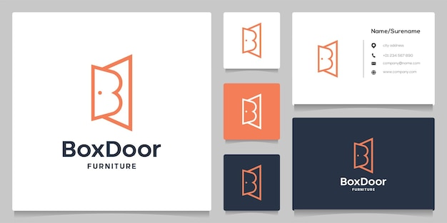 Litera b drzwi wnętrze streszczenie linia zarys nowoczesny projekt logo