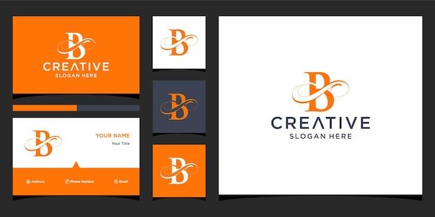 Litera b elegancki projekt logo z projektem wizytówki
