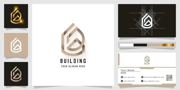 Litera b lub logo budynku z monogramem z projektem wizytówki