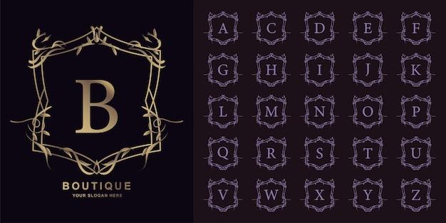 Litera b lub początkowy alfabet kolekcji z luksusowym ornamentem kwiatowy rama złoty szablon logo.