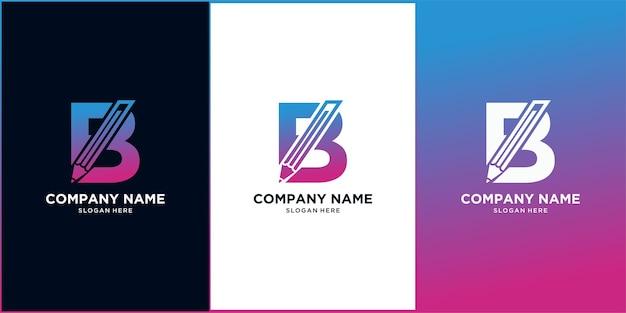 Litera b ołówek początkowe logo szablon