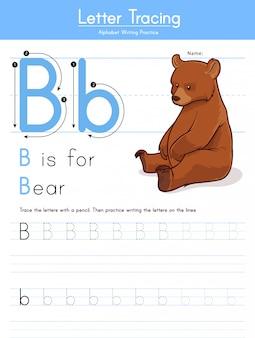 Litera b śledzenie alfabetu zwierząt b dla niedźwiedzia