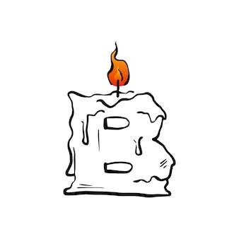Litera b świeca urodziny wielkie litery znak ognia światło logo wektor ikona ilustracja