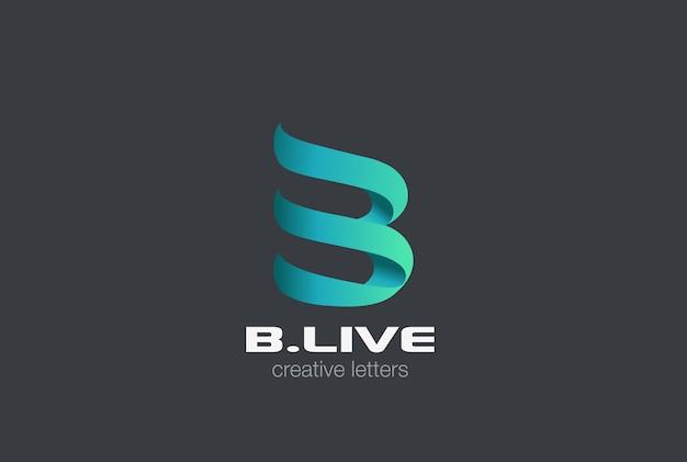 Litera b wstążka logo na szarym tle