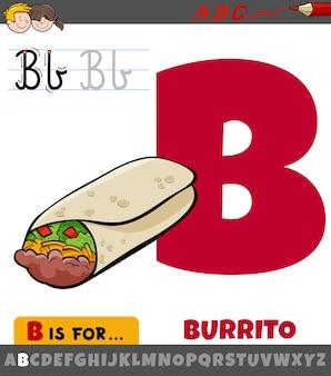 Litera b z alfabetu z kreskówki burrito