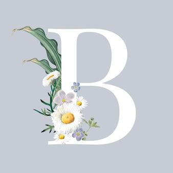 Litera b z kwiatami