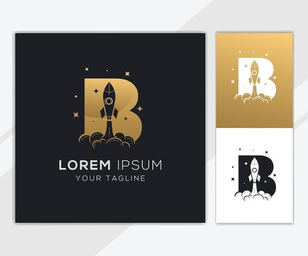 Litera b z luksusowym szablonem logo streszczenie rakiety
