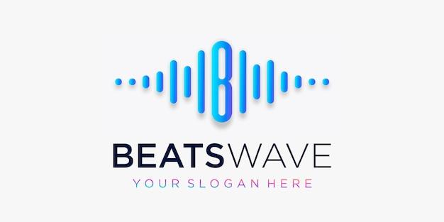 Litera b z pulsem. element fali bije. szablon logo muzyka elektroniczna, korektor graficzny, sklep, muzyka dj, klub nocny, dyskoteka. koncepcja logo fali dźwiękowej, o tematyce technologii multimedialnej, abstrakcyjny kształt.