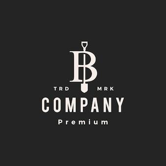 Litera b znak łopata pik hipster vintage logo wektor ikona ilustracja