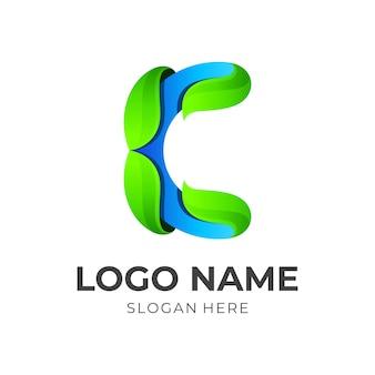 Litera c koncepcja logo wektor z kolorowym stylem 3d