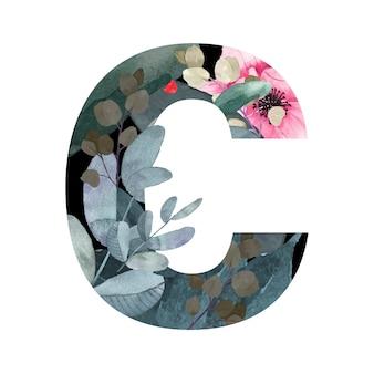 Litera c kwiatowy styl.