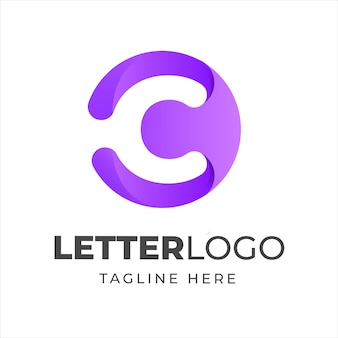 Litera c logo w kształcie koła