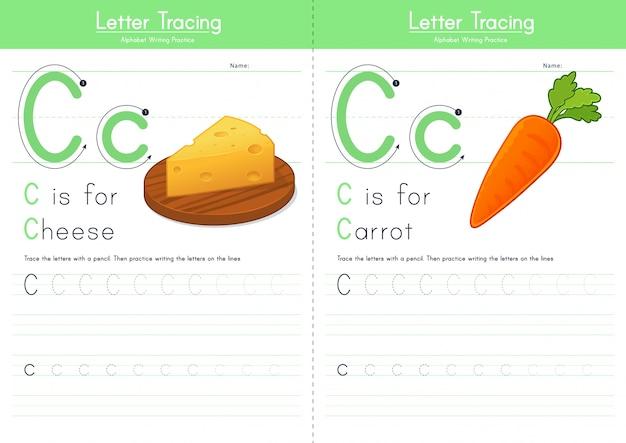 Litera c śledzenie alfabetu żywności