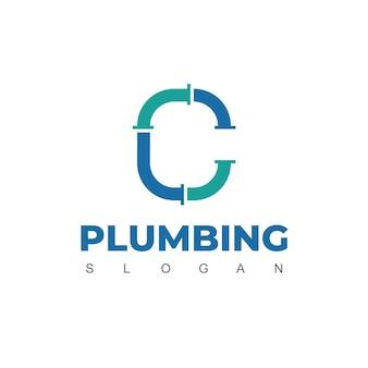 Litera c, szablon projektu logo rury dla tożsamości firmy hydraulicznej