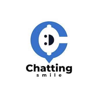Litera c tworząca tekst bąbelkowy z uśmiechniętą twarzą w szablonie logo aplikacji na czacie