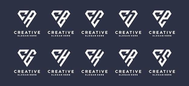 Litera c w kształcie rombu w połączeniu z innymi projektami logo monogramów.