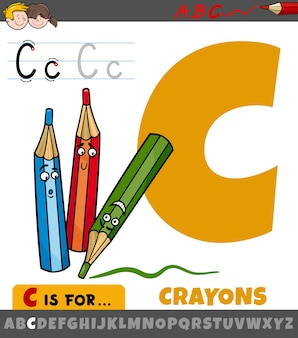 Litera c z alfabetu z postaciami z kreskówek kredek