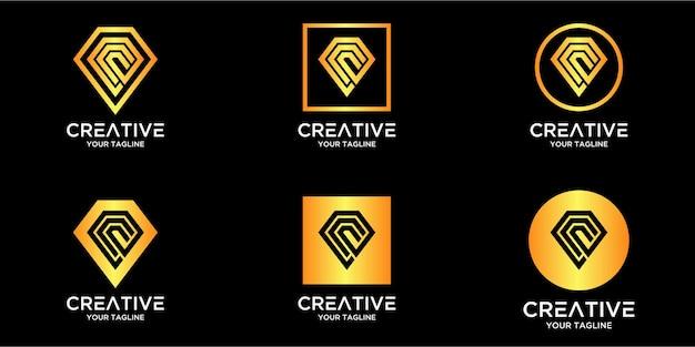 Litera c z luksusowym abstrakcyjnym diamentowym szablonem logo