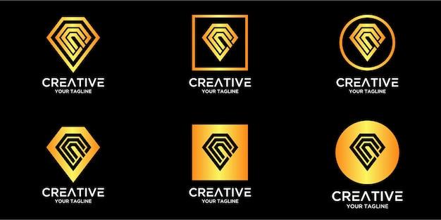 Litera C Z Luksusowym Abstrakcyjnym Diamentowym Szablonem Logo Premium Wektorów