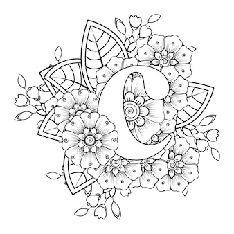 Litera c z ozdobnym ornamentem kwiatowym mehndi w etnicznym stylu orientalnym kolorowanki książki