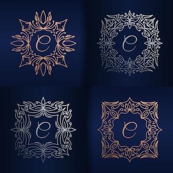 Litera c z szablonem logo kwiatowy ramki