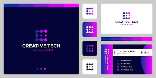 Litera c ze stylem tech i kolorem gradientu. wizytówka.