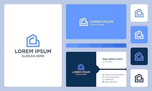 Litera d i logo budowy domu. projekt wizytówki.
