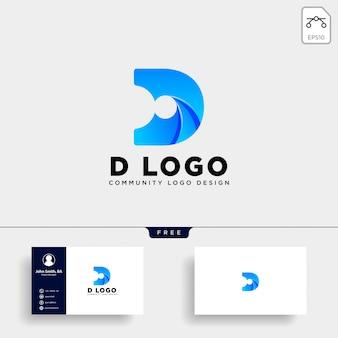 Litera d ikona logo ludzki szablon na białym tle