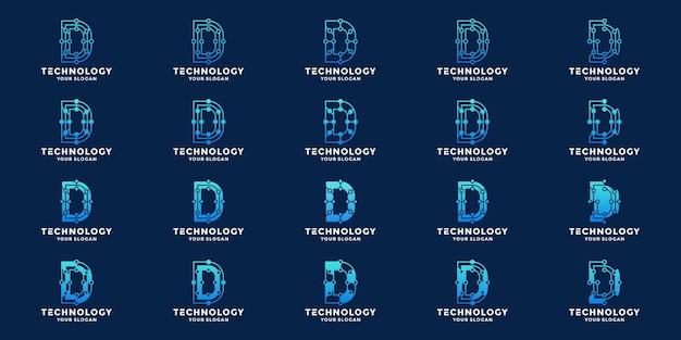 Litera d, inicjały d technologia wektor projektowania logo z koncepcją kropki i połączeniem