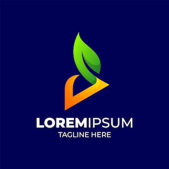 Litera d liść zielony logo kolorowy szablon gradientu