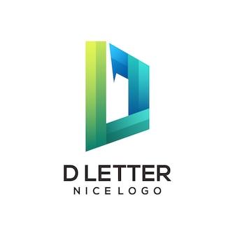 Litera d logo kolorowy gradient ilustracji