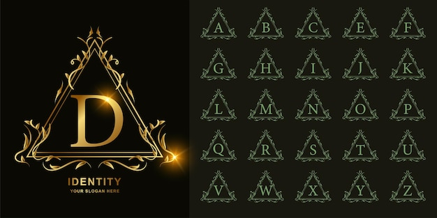 Litera d lub kolekcja początkowy alfabet z luksusowym ornamentem kwiatowy rama złoty szablon logo.