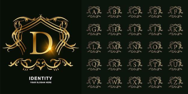 Litera d lub początkowy alfabet kolekcji z luksusowym ornamentem kwiatowy rama złoty szablon logo.