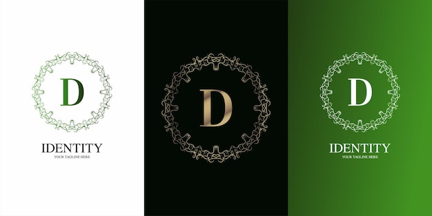 Litera d początkowy alfabet z luksusowym ornamentem kwiatowym logo szablon.