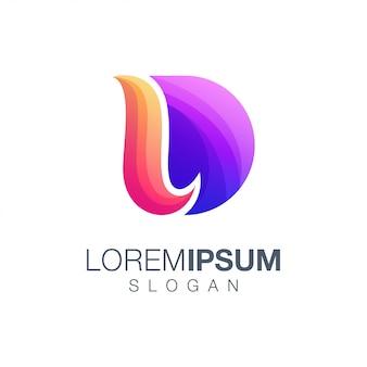Litera d projekt logo w kolorze gradientu