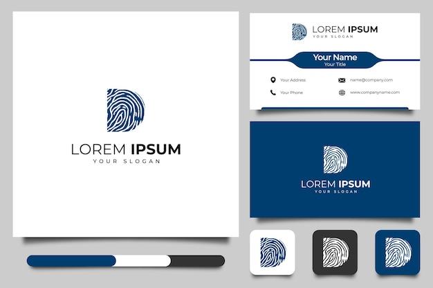 Litera d z logo linii papilarnych kreatywny projekt i szablon wizytówki