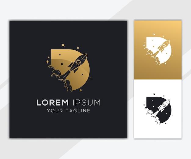 Litera d z luksusowym szablonem logo streszczenie rakiety