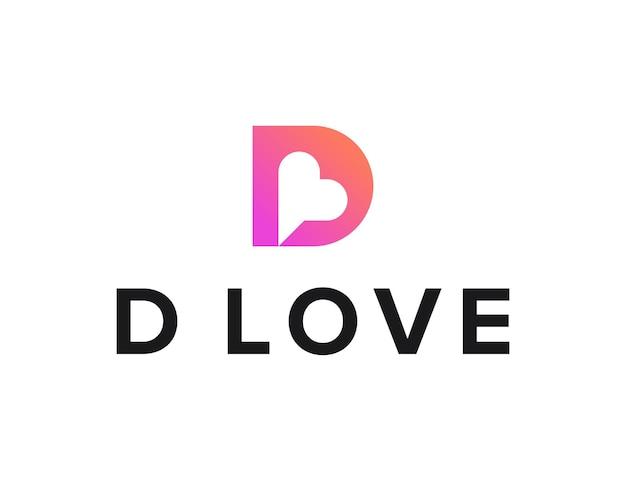 Litera d z negatywną przestrzenią serce i czat prosty elegancki kreatywny geometryczny nowoczesny projekt logo