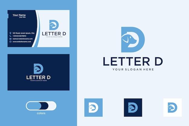 Litera d z projektem logo psa i wizytówką