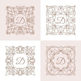 Litera d z szablonu logo kwiatowy ramki