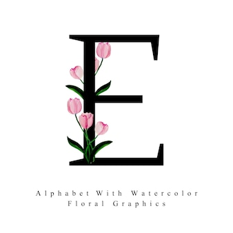 Litera e akwarela kwiatowy tło