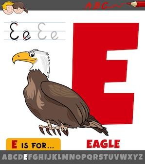 Litera e arkusz roboczy z ptakiem orzeł kreskówki